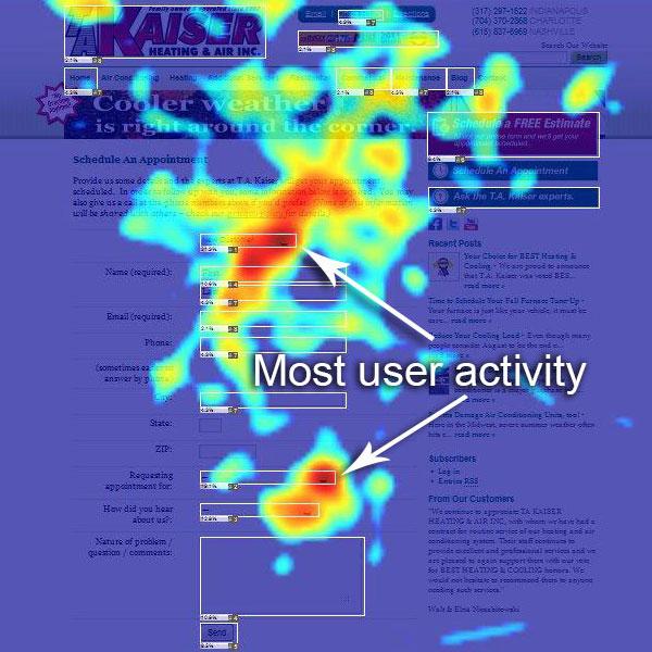 Heatmap from Web Analytics by CEOMetrics